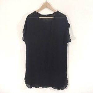 Wilfred Silk Black Shortsleeve Tunic Blouse Medium